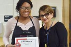 Cosmetology student with her teacher.