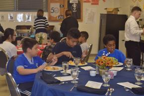 Garfield Elementary students enjoy their Bistro meal.