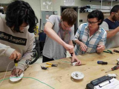 Electrical Students building circuits