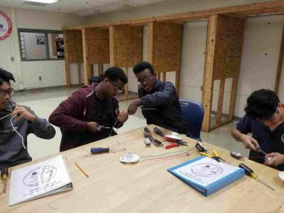 Electrical Students building their first circuits.